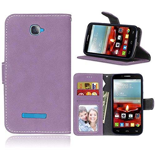 FUBAODA One Touch Pop C7 Hülle, Schutzhülle Brieftasche Lederhülle,Handytasche e Folio für Alcatel One Touch Pop C7(Lila)