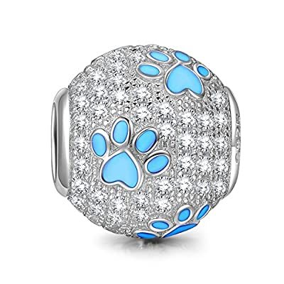 NinaQueen 925 Sterling Silver Puppy Dog Paw Animal Footprints Round Shape Design Cubic Zirconia Charms