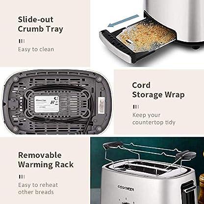 Toaster-COOCHEER-2-scheiben-toaster-edelstahl-1000-Watt-Brtchen-Toaster-mit-Abnehmbarer-Krmelschublade-9-Brunungsstufen