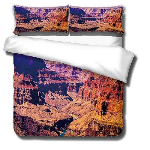 Bbaodan Bettwäsche Set Bettbezug 3 TLG, Colorado-Hochebene Mikrofaser 3D Bett Bezug Bezüge Garnitur Set Bettdecke Kissenbezug Mit Reißverschluss Schließung, Landschaft 220X260Cm