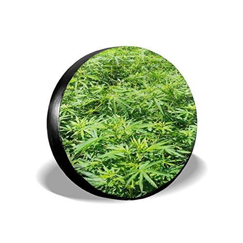 LYMT bandafdekking, groot, Marihuana-plant, groen, vervangende velgenafdekking, geschikt voor aanhangwagens, campers, terreinwagens, vrachtwagens, 14-17 inch