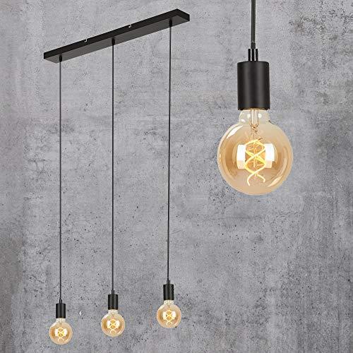 Briloner Leuchten - Pendelleuchte, Pendellampe, 3-flammig, Hängelampe retro/vintage, Black Steel, 3x E27, max. 60 Watt, Schwarz