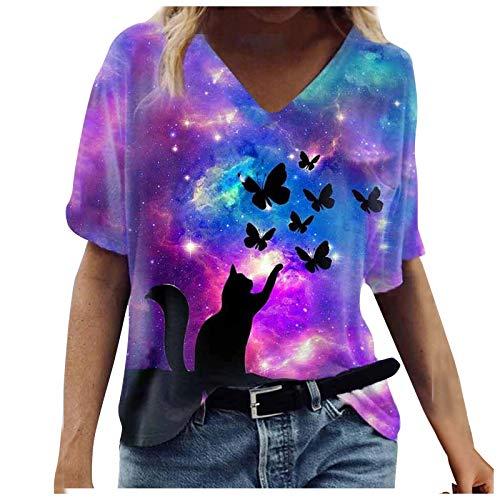 Camiseta de verano para mujer, cuello en V, holgada, manga corta, estilo vintage, 3D, talla grande, informal, talla M, color morado