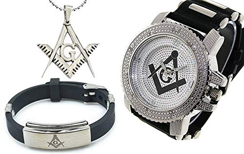 3 Piece Jewelry Set - Freemason Pendant, Bracelet & Masonic Watch, Black Silicone Band Freemason Symbol Black & Silver Face Dial Watch
