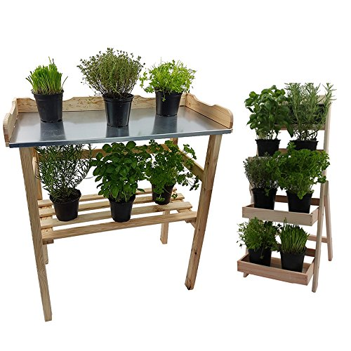 Power-Preise24 Set Pflanztisch 82 cm + Blumentreppe 66 cm Natur aus FSC® zertifiziertem Holz - Wetterfeste Terrassenmöbel für Garten und Balkon ideal zum EIN- und Umtopfen oder als Ablage
