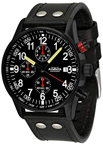 Astroavia N97 Black L8 - Reloj de pulsera para hombre (cronógrafo, cuarzo, correa de piel)
