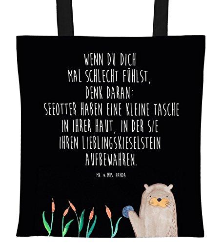 Mr. & Mrs. Panda Tasche, Baumwolltasche, Tragetasche Otter mit Stein mit Spruch - Farbe Schwarz