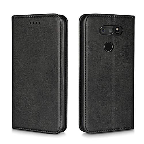 Xiaoki LG V30 V30 Plus V35 ThinQ Case, Luxury [Cowhide Genuine Leather][Magnetic Closure] Handmade Wallet Case with Kickstand and Card Slots for LGV30 V30 Plus V35 V35 ThinQ V30+ V30s - Black