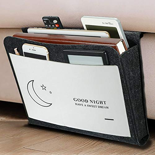 DBoer Bedside Organizer Felt Caddy Pocket Under Couch Mattress Table Desk Hanging Storage Bag for Holding Books Magazines Remote Tablet Phone Pad Chargers Home Dorm College Room Bed Caddy