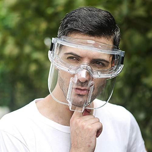 Vollgesichtsschutz Gesichtsschutz - Leichter Abnehmbarer Verhindert Tröpfchen, Transparenter Atmungsaktiver Gesichtsschutz Anti-Fog-Sicherheitsisolierung Vollgesichtsschutz