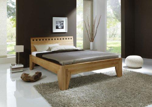 DaMi Holzbett Stella Plus A - Massivholz-Bett in Kernbuche - Metallfreies Stecksystem - Doppelbett, 140 x 200 cm