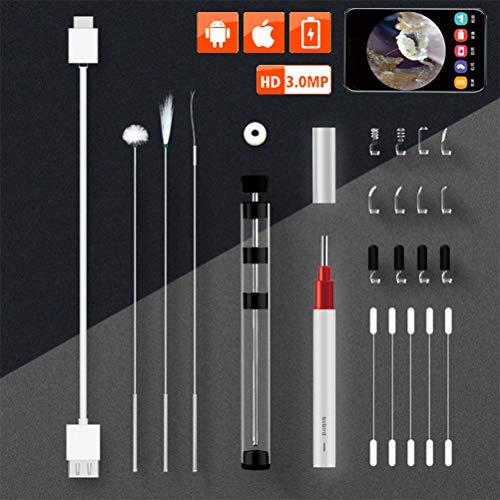 USB HD Ear endoscoop Scope Camera Kit, 3,9 mm constante temperatuur Visual Ear otoscoop camera met 6 Instelbare LED verlichting Earwax schoonmaak tool, Mobile Phone Universal,Silver