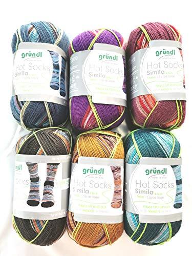 Simila 6X 100g Sockenwolle Paket Gründl Hot Socks, 2 gleiche, identische Socken Stricken, 600g Wollpaket Sockenwolle