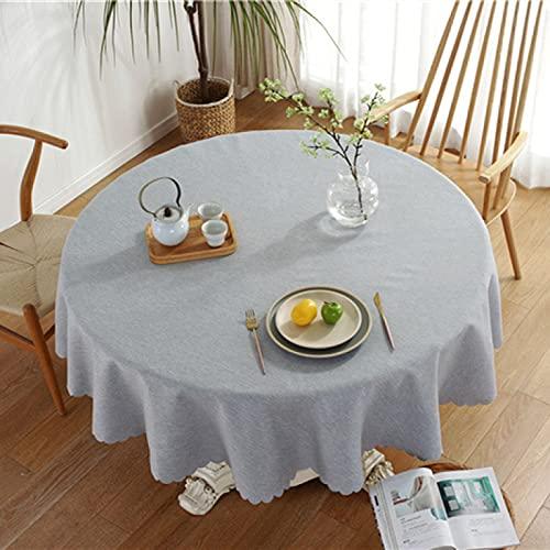 marca blanca Mantel rectangular de poliéster con diseño de flores 3D para decoración de fiestas y cenas, color blanco, redondo 135 cm