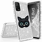 Miagon for Xiaomi Mi 10T Glitter Case,3D Cute Cat Electroplating Bling Diamond Soft TPU Silicone Shockproof Shiny Sparkle Case Cover
