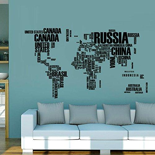SPFOZ Haus Dekoration 60 * 90cm Zitat Removable Brief Weltkarte Vinyl Aufkleber Kunst-Wandhauptdekor-Wand-Aufkleber for Kind-Raum-Schule Bürodekoration (Color : HM0035H)