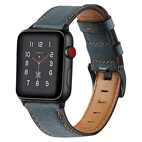 Correa para Apple Watch Series 6 Band 44 mm para IWatch 42 mm 38 mm Cinturón Correa de reloj de cuero de vaca retro Pulsera para Apple Watch SE 5 4 3 2 40 mm-azul, 42 mm o 44 mm