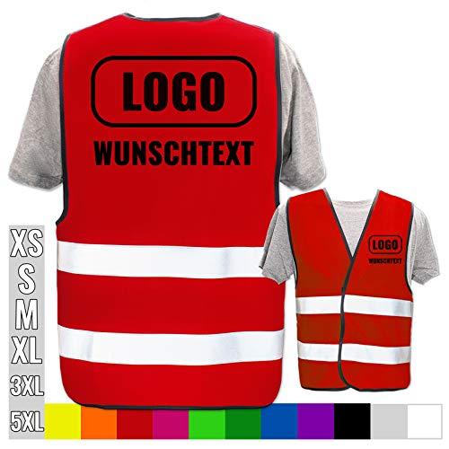 Persönliche Warnweste selbst gestalten mit eigenem Aufdruck * Bedruckt mit Name Text Bild Logo Firma, Menge:1 Warnweste, Farbe/Position:Rot/Rücken + Linke Brust