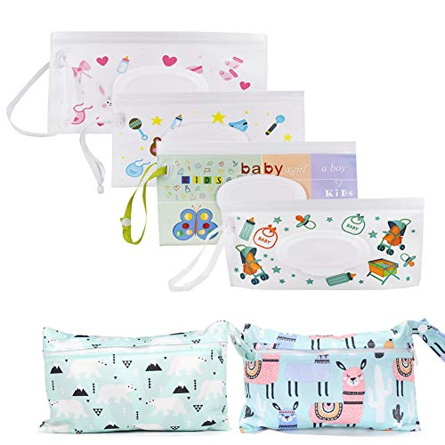 WoYous 6pcs Portable Wet Wipe Pouch Set, Reusable and Refillable Wipe Holder Baby Wipes Dispenser Lightweight Handheld Travel Wipes Holder Baby Wet Wipe Cases for Travel-Pouch Carries