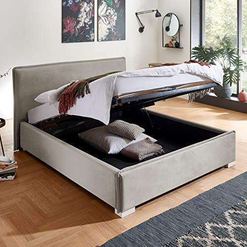 Designer Bett mit Bettkasten Sofia Samt-Stoff mit Biese Polsterbett Lattenrost Doppelbett Stauraum Holzfuß weiß (Altweiß, 140 x 200 cm)