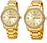 Akribos XXIV Men's and Women's Watch Matching Set - His and Her and Crystal Filled Watch Roman Numerals With Date Window on Stainless Steel Yellow Gold Bracelet - AK888