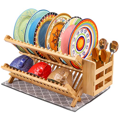 MJM Bamboo Dish Drying Rack with Utensil Holder and Drying mat, Plate Drying Rack Wooden, Wood Bamboo Collapsible Dish Rack Drying, 2 Tires Dish dry rack Bamboo, 18 Slots