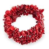 Bling Jewelry Moda Rojo teñido Coral Cluster Piedra Chips Declaración Pulsera de Estiramiento...