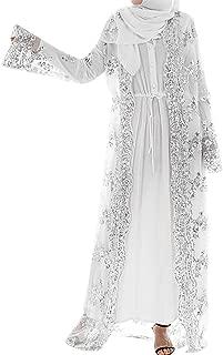 Muslim Women Lace Sequin Cardigan Maxi Dress Kimono Open Abaya Robe Kaftan Dubai Fashion Long Cardigan Cover Up