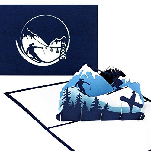 """Pop Up Karte """"Ski & Snowboard"""" - 3D Geburtstagskarte, Einladungskarte & Geschenkgutschein – als Reisegutschein, Einladung, Geschenkverpackung und Gutschein zum Ski Urlaub & Snowboardfahren"""