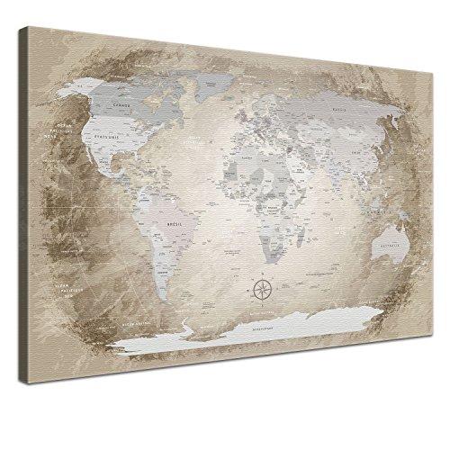 """LANA KK - Weltkarte Leinwandbild mit Korkrückwand zum pinnen der Reiseziele – """"Worldmap Beige"""" - französisch - Kunstdruck-Pinnwand Globus in braun, einteilig & fertig gerahmt in 60x40cm"""