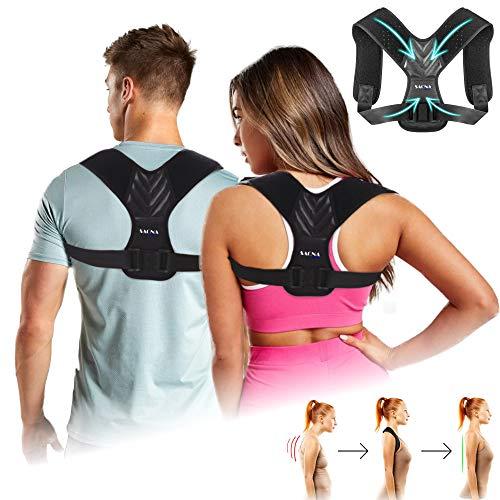 Corrector de postura – Alivia el dolor de espalda, cuello y hombros – Apoyo de espalda – Para mujer y hombre – Sujeción de espalda cómoda/ajustable/lavable | Saona Concept® (SC-003) | (L-XL) 🔥