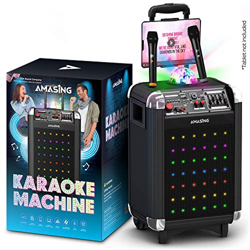 Karaoke Machine for Adults and Kids, Bluetooth Portable Singing PA Speaker System + 2 Wireless Dual Microphones + Disco Lights + TV Cable. Best Christmas & Birthday Gift for Boys & Girls - Soprano X1