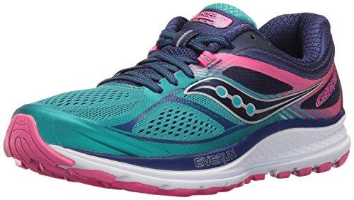 Saucony Women's Guide 10 Running Shoe, Teal/Navy/Pink, 9 M US