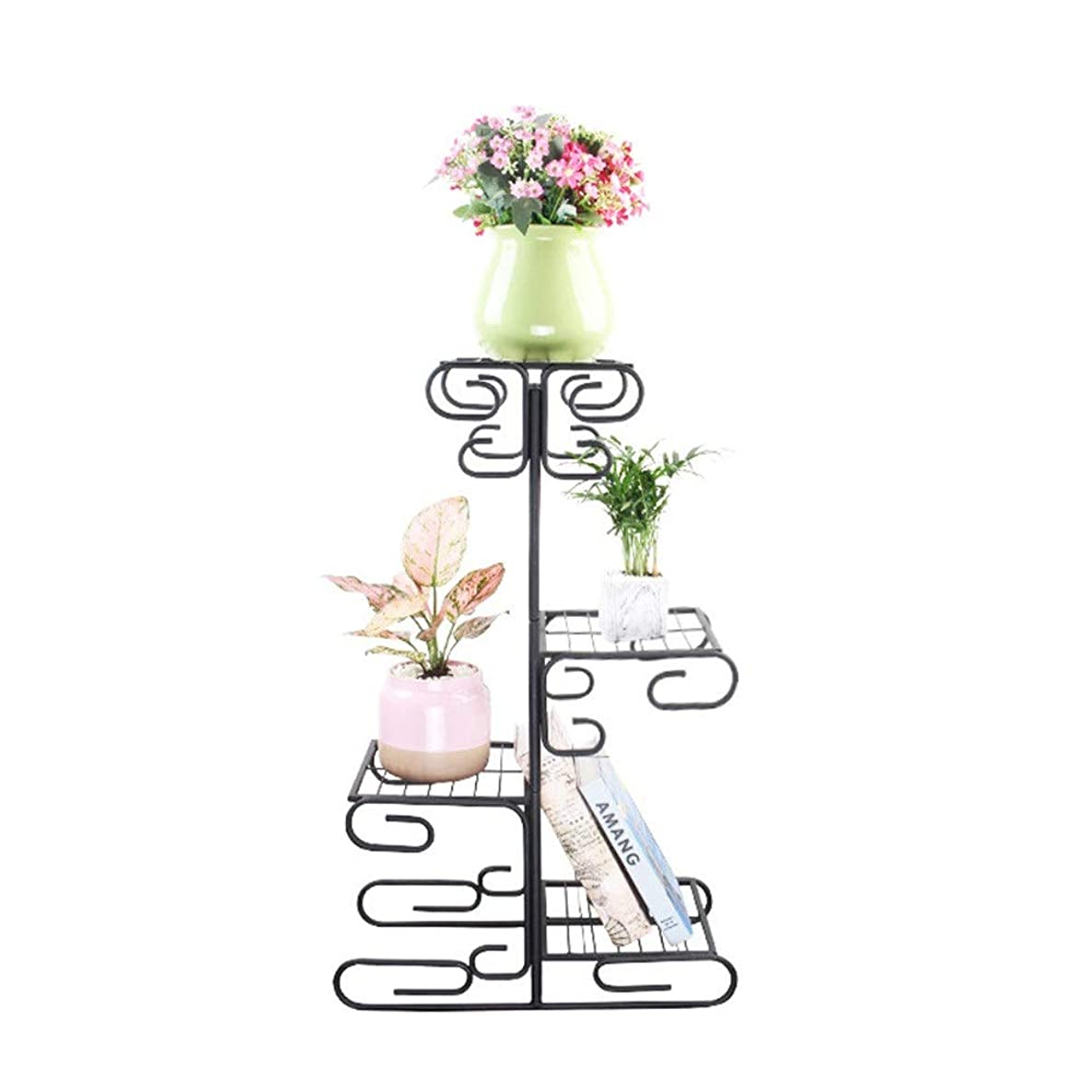Flower Stand Metal Plants Pot Display Tree Shape Garden Holder Home Plant Flower Stand for Home Garden Patio (Color : Black, Size : 522483cm)