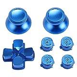 WiMas 7PCS Metal Aluminio Thumbsticks Thumb Grip Stick Combinado PS4 Aluminio Button D-Pad Bullet Buttons Botón AXBY para PS4 Controlador (Azul)