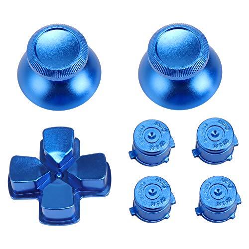 WiMas Metal Aluminium Thumbsticks Ersatz-Controller Thumb Grip Stick D-pad Schaltfläche Bullet Tasten Set für PS4 Controller (Blue)