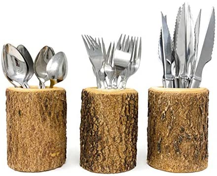 Silverware Holder in Natural Wood Bark Handcrafted Utensil Flatware Organizer for Rustic Kitchen product image