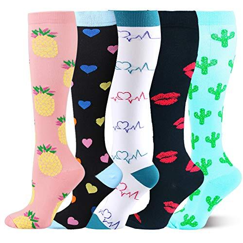 Kompressionsstrümpfe Sneaker Socken Herren Damen Laufsocken Sprunggelenkschutz und Mittelfußstütze für Laufen Radfahren Erholung Blutzirkulation, 5 Paar- F Mehrfarbig, S-M