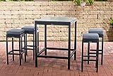 CLP Polyrattan Gartenbar-Set Alia I Gartenmöbel-Set Mit Tisch Und 4 Barhockern Inkl. Sitzkissen I Erhältlich, Farbe:schwarz, Polsterfarbe:Eisengrau