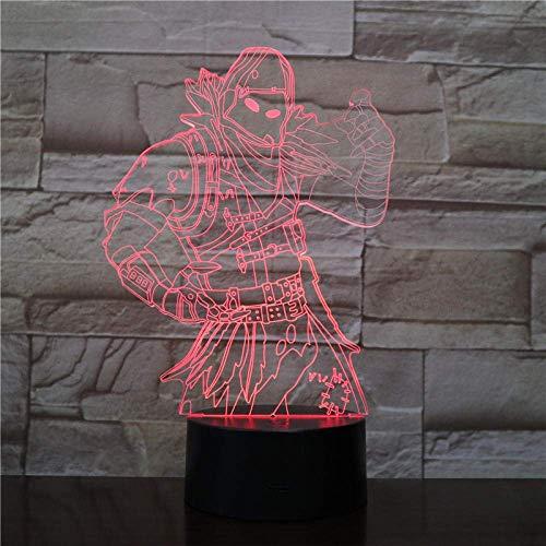 Lámpara de escritorio de mesa de juego de pieles de cuervo 7 colores Interruptor táctil 3D Visual LED Luz de lava Acrílico Ilusión Iluminación de la habitación Fabricación de juguetes 2303