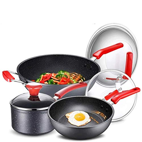 YYCHJU Cookware Set for Gas, Electric and Stovetop Hard Anodized Nonstick 5 Piece Cookware Set Professional Grade Aluminum Cookware Pots