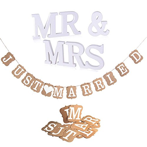 "Girlande JUST MARRIED | MR & MRS Deko Buchstaben Hochzeit Dekobuchstaben, Vintage / Rustikal Kraft Paper ""Just Married"
