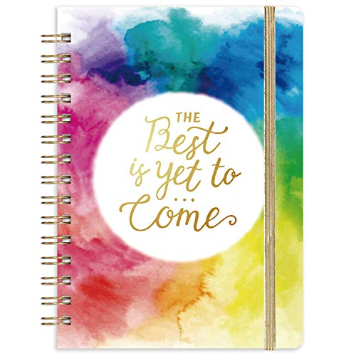 Journal/Ruled Notebook - Ruled Journal with Premium Thick Paper, 6.4' x 8.5', Hardcover with Back Pocket + Banded - Watercolor Ink