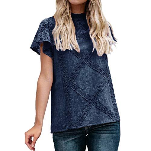 Camisetas Mujer SHOBDW Dia de la Mujer Verano Patchwork De Encaje Casual Ahuecar Volantes Manga Corta Suéter De Cuello De Tortuga Linda Blusa Floral Camiseta Blanca para Mujer (L, Armada)