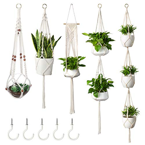 MoonLa 5-Pack Macrame Plant Hangers with 5 Hooks, Indoor Outdoor Hanging Planters Set Hanging Plant Holder Stand Flower Pots Boho Home Decor(Cotton Rope, 4 Legs, 5 Sizes)