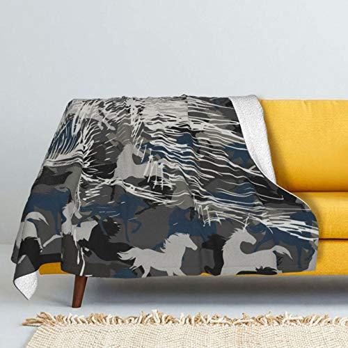 "KPZ Fleece Throw Blanket,Camouflage Horse Warmth Soft Sherpa Fleece Blanket 60""X50"""
