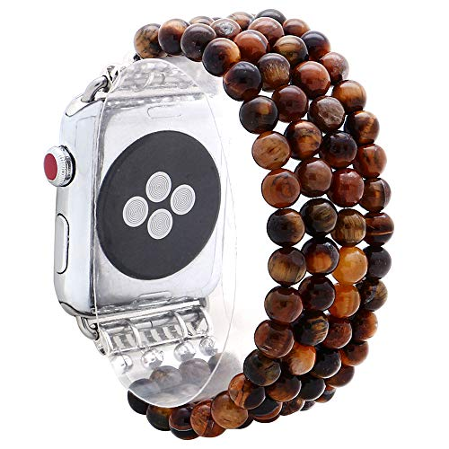 KAI Top Compatible for Apple Watch Band 42mm 44mm, Natural Stone Beaded Band for Women Girls,Elastic Stretch Replacement Band for iWatch Series SE & Series 6 5 4 3 2 1(Tiger's Eye)