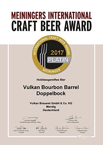 CRAFTBIER DES JAHRES 2017 (Meininger Award)!!! VULKAN Bourbon Barrel Doppelbock/tiefster Bierkeller der Welt/Craftbier/Craftbeer/Holzfass gereift / 0,33l Flasche / 9,5% / 45,15€ je l - 5