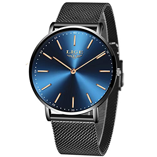 LIGE Ultra-Thin Mens Watches Unisex Waterproof Sport Stainless Steel Mesh Wrist Watch Gents Fashion Simple Analogue Watches for Woman … …