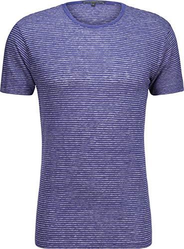 Drykorn Herren Kurzarm-Shirt aus Leinen in Blau gestreift XL